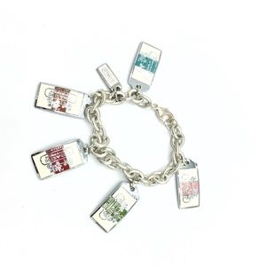 Coach Jewelry - Authentic COACH Sterling Silver Tag Charm Bracelet